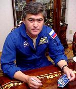 Cosmonaut Salizhan Sharipov Signing A Space Patch For Us