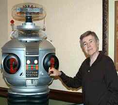 """Star Trek's"" Walter Koenig with our B9 Lost in Space Robot"