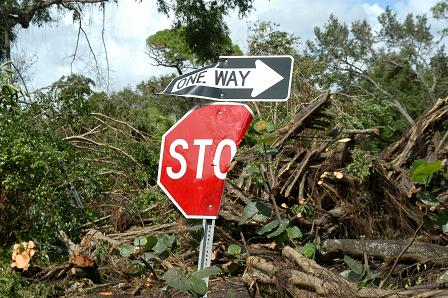 A street sign down the road from our facility mangled by Hurricane Francis.
