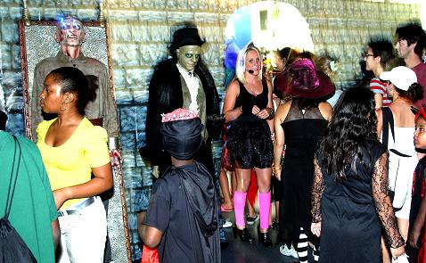 Guests gathering at the Dungeon