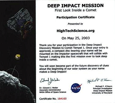 certificate with nasa - photo #40