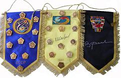 Flown & Autographed Space Pennants & Mission Pins