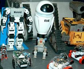 Here are 2 of our Sumo-Bots posing with some of our other robots